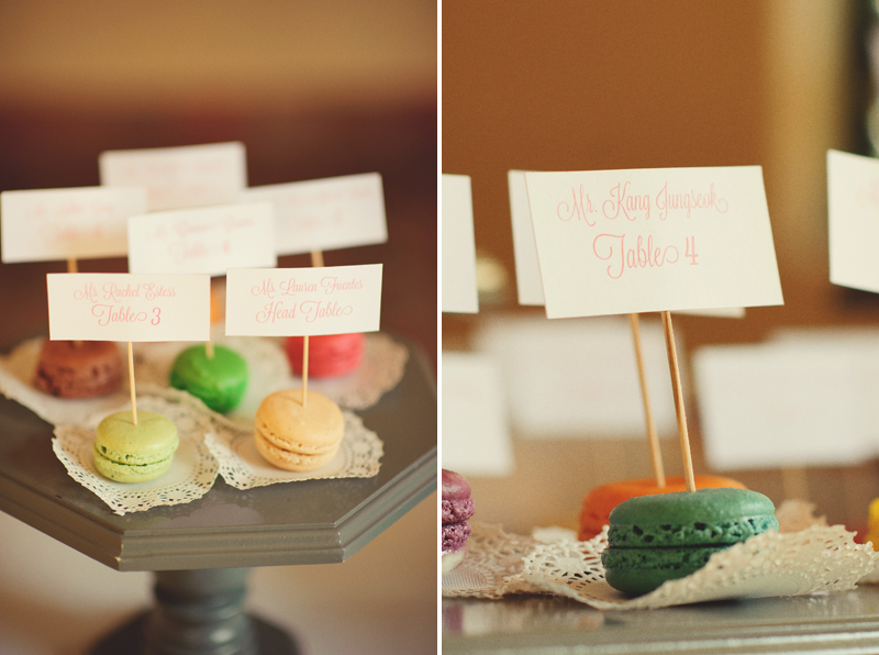 powel crosley estate wedding: macaroon place cards