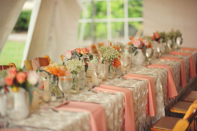 powel crosley estate wedding: long reception tables