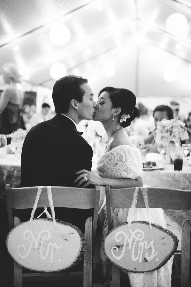 powel crosley estate wedding: reception kiss