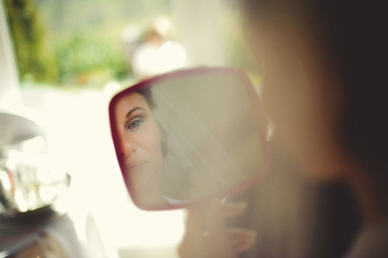 Biltmore Estate Wedding: bride mirror