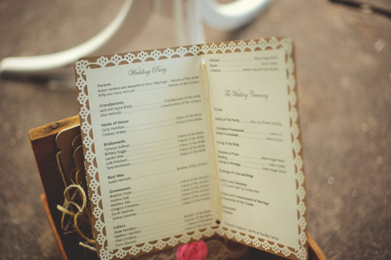 Selby Gardens Wedding: program