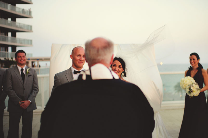 w hotel ft lauderdale wedding: ceremony bride and groom