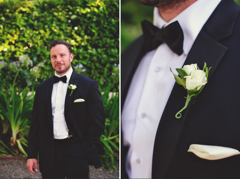 pulgas water temple wedding: groom and boutonniere