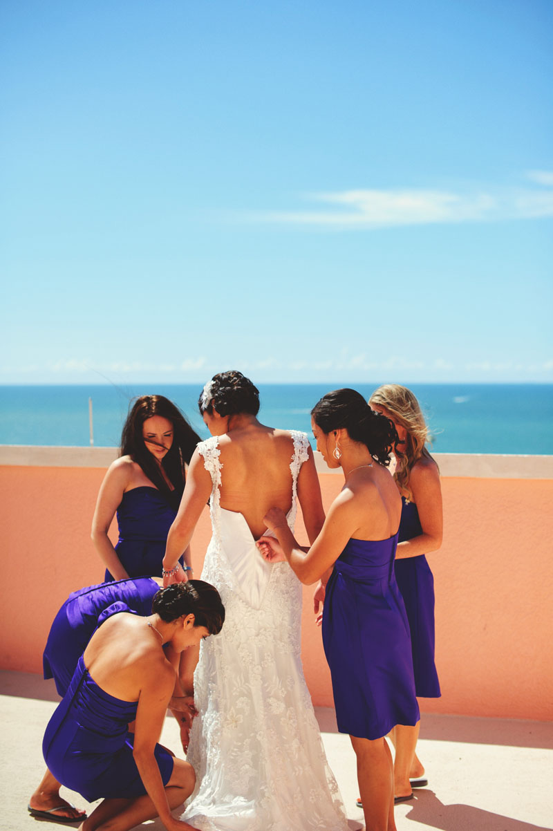 hyatt clearwater wedding: bride getting dressed