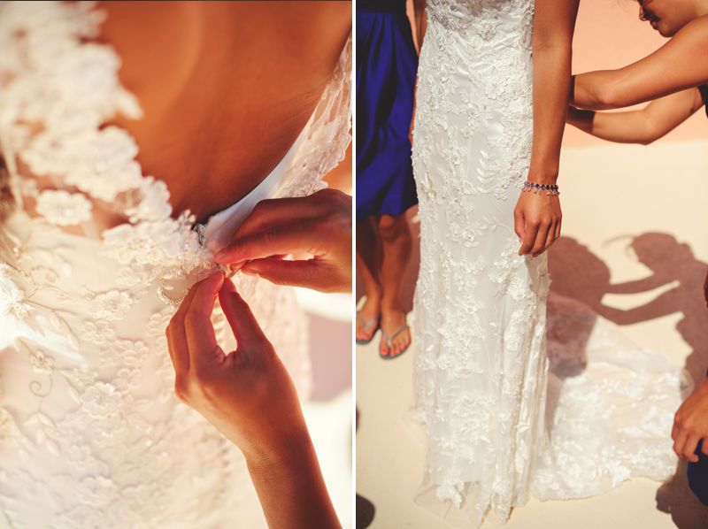 hyatt clearwater wedding: buttoning up dress