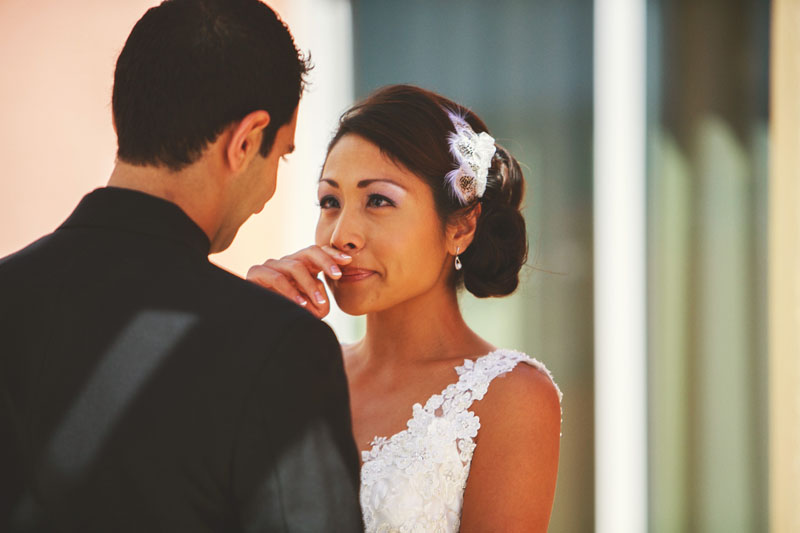 hyatt clearwater wedding: bride crying