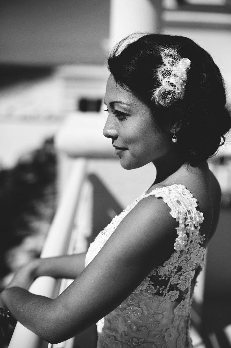 hyatt clearwater wedding: bride looking out