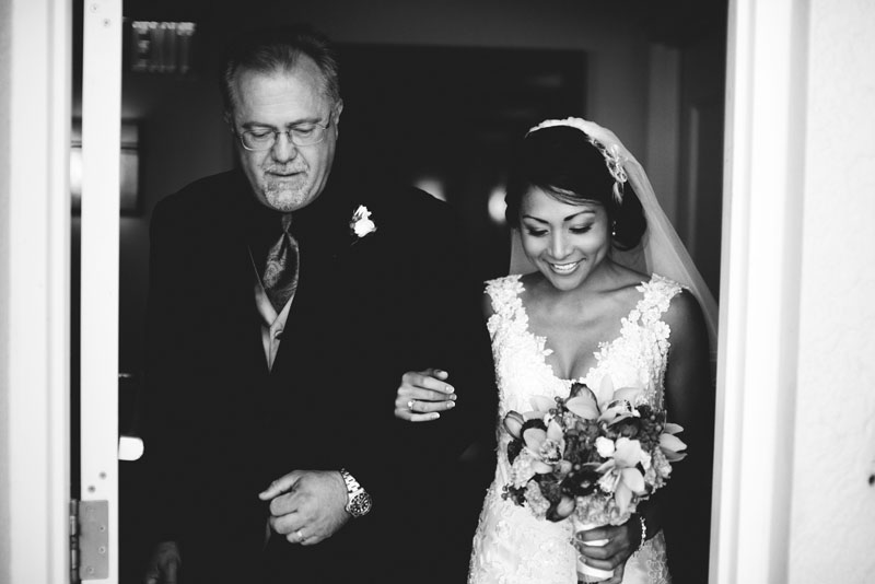 hyatt clearwater wedding: father bride aisle