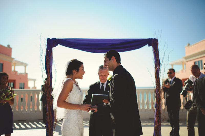 hyatt clearwater wedding: bride putting on ring