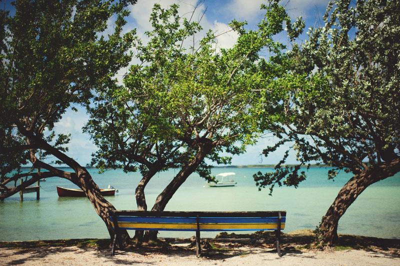 Harbour Island Wedding: bohemian bench