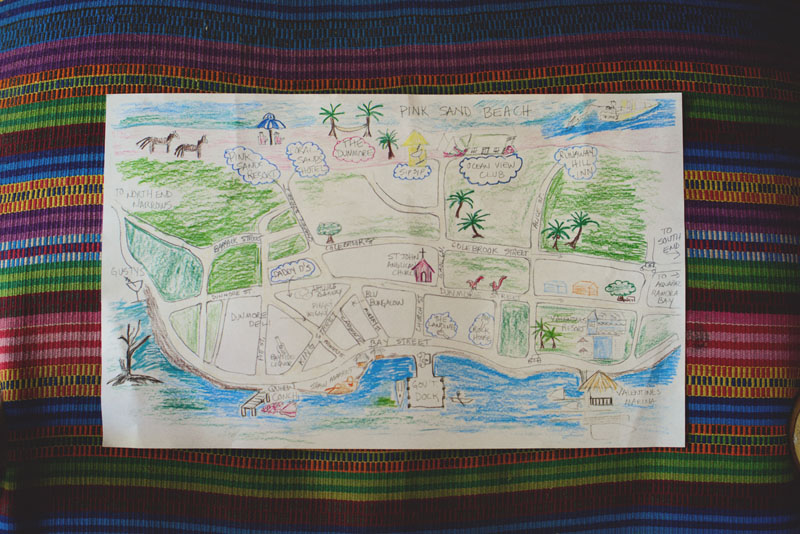 Harbour Island Wedding: drawn map for guest