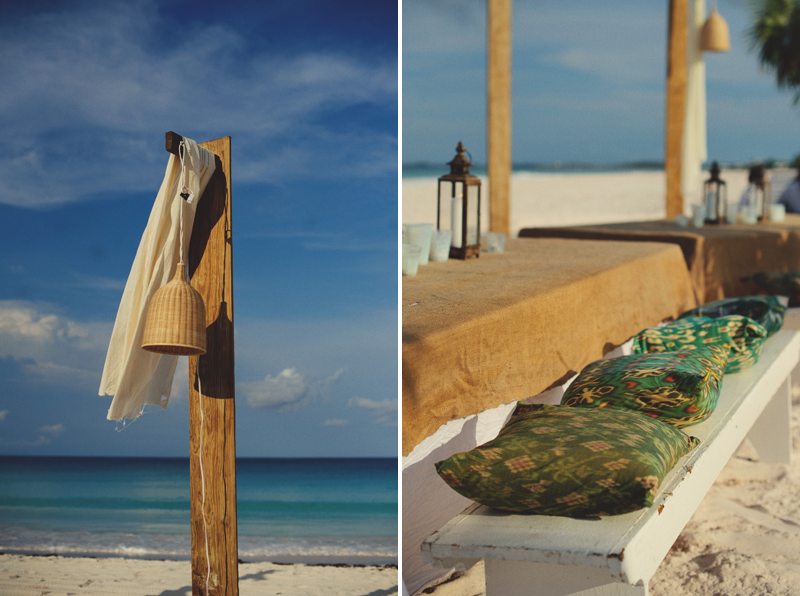 Harbour Island rehearsal dinner: bench with pillows
