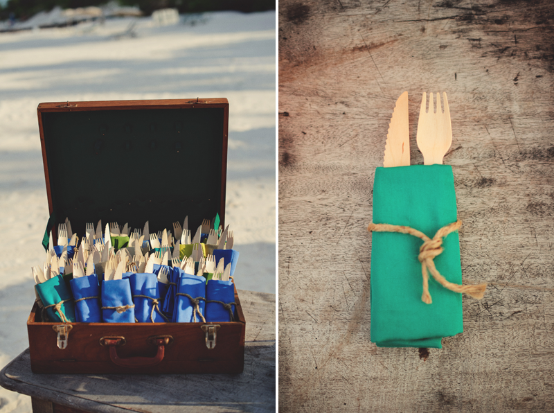Harbour Island rehearsal dinner: wooden fork and knives