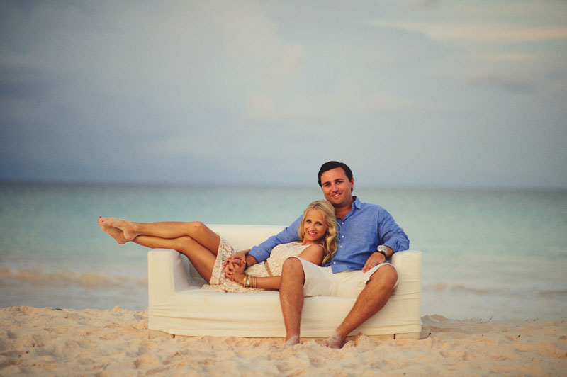 Harbour Island rehearsal dinner: furniture on beach bride and groom