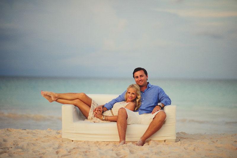 Harbour Island rehearsal dinner: furniture on beach bride and groom