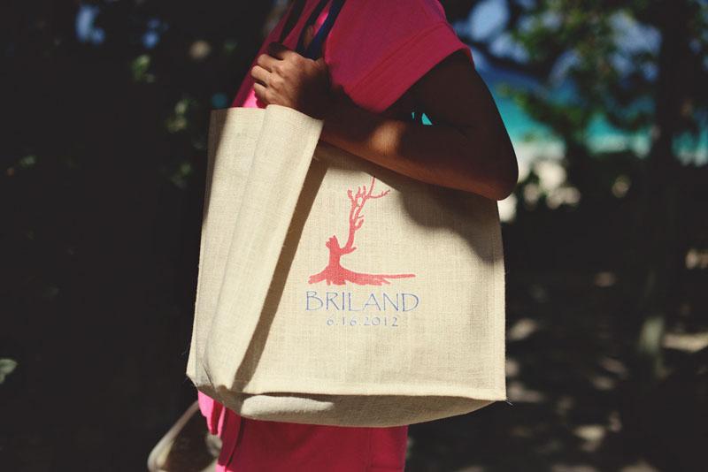 Harbour Island Wedding: welcome burlap bag