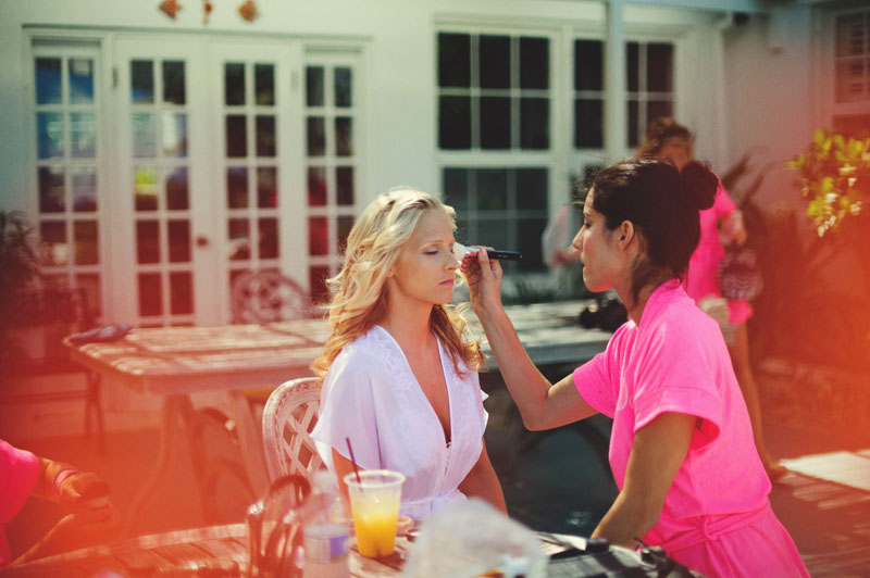 Harbour Island Wedding: bride getting make up done