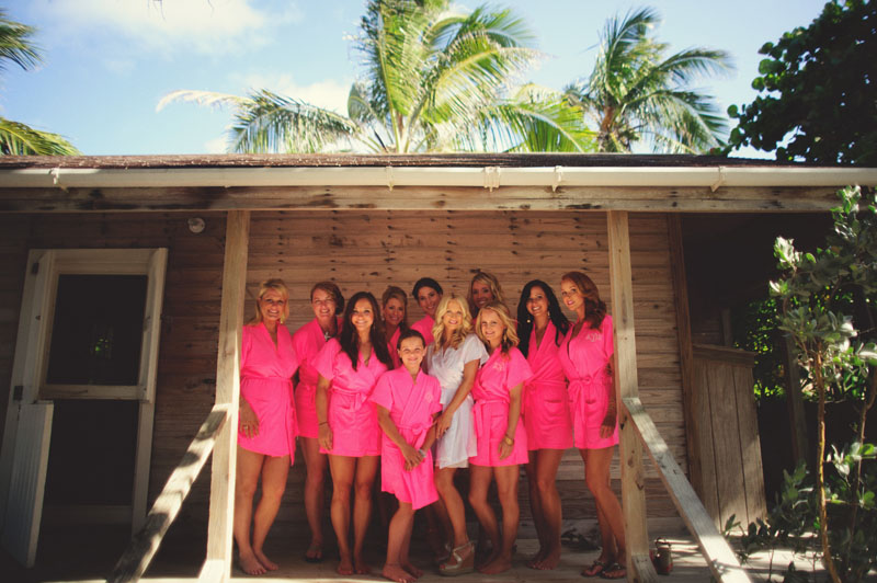 Harbour Island Wedding: bridesmaids in robes