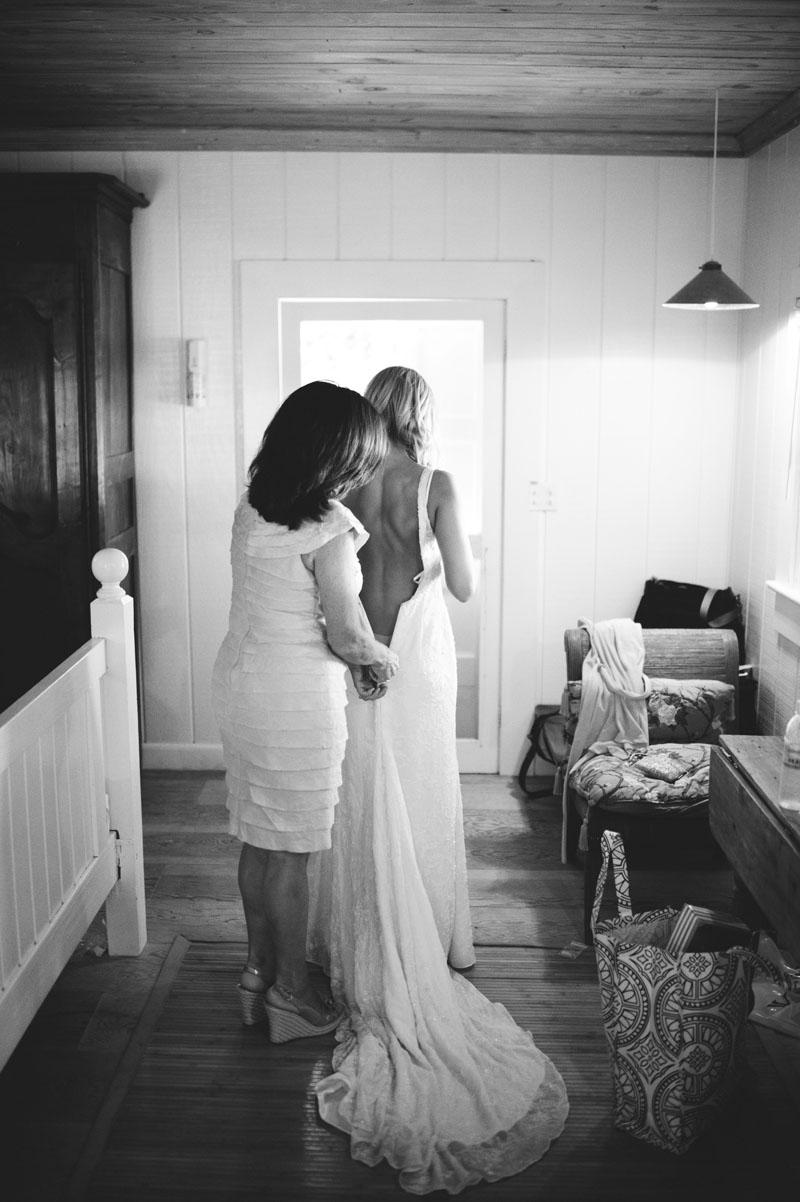 Harbour Island Wedding: Bride getting dressed