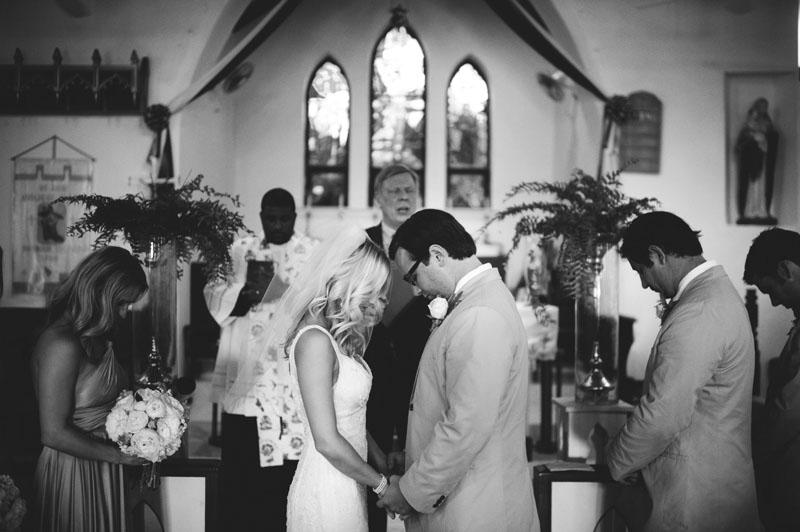 Harbour Island Wedding: praying church