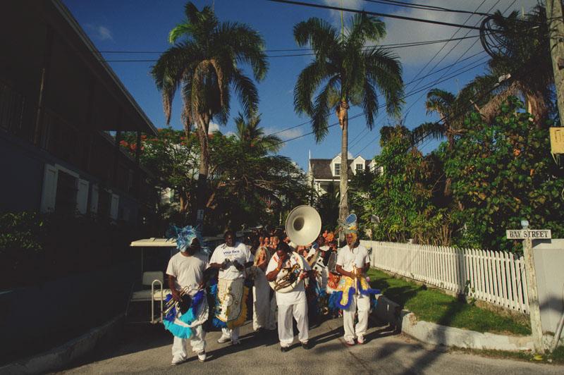 Harbour Island Wedding: junkanoo band down the street
