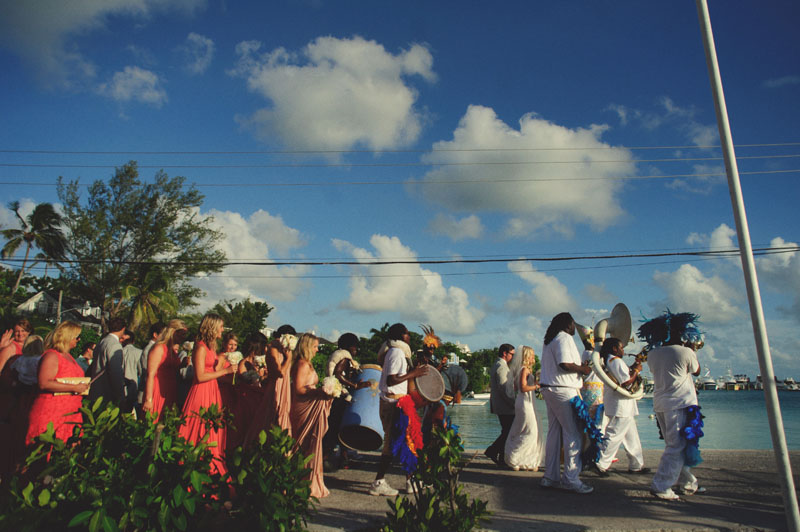 Harbour Island Wedding: junkanoo band march