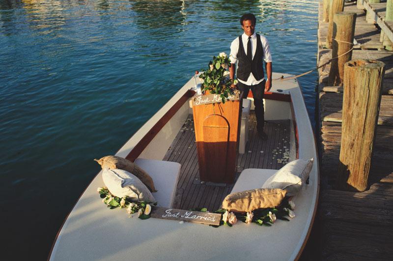 Harbour Island Wedding: ben simmons in boat