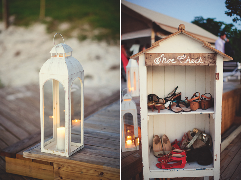 Harbour Island Wedding: shoe check and lantern