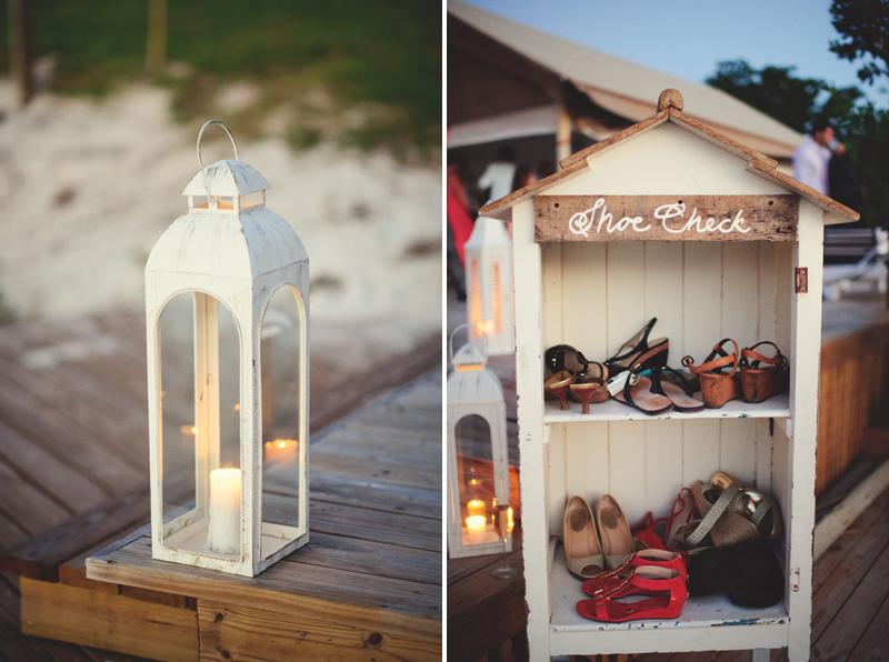 Harbour Island Wedding: shoe check and lantern