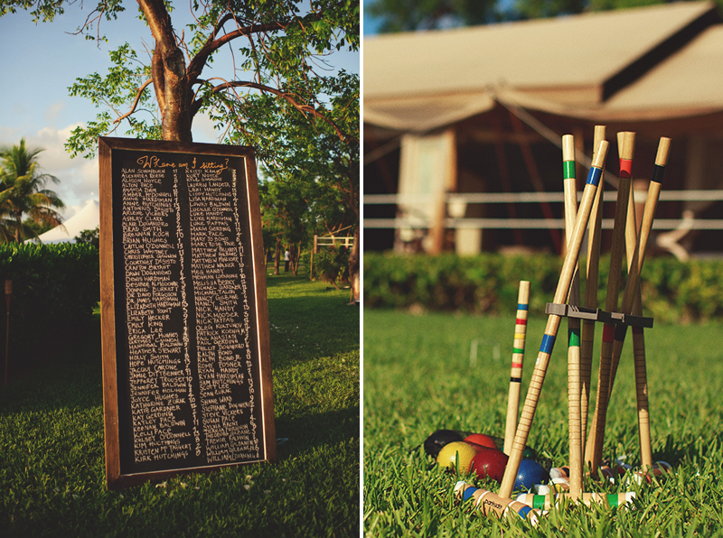 Harbour Island Wedding: table seating and cricket