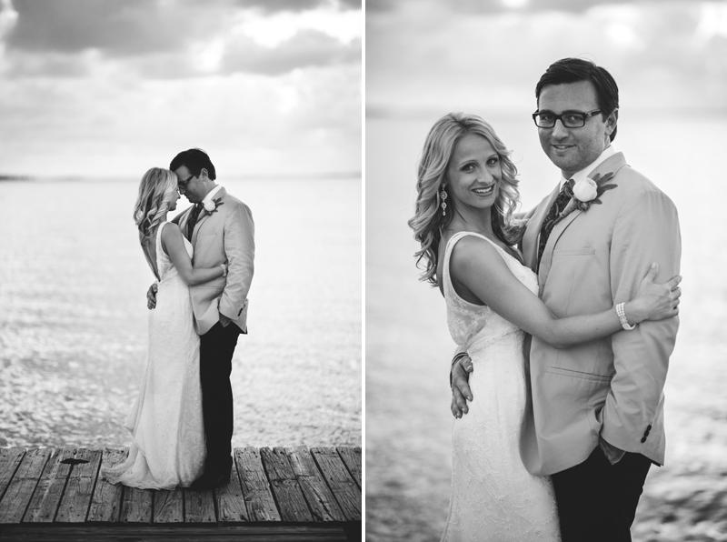 Harbour Island Wedding: bride and groom on dock
