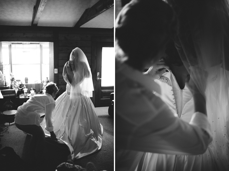 plant city farm wedding: bride putting on dress