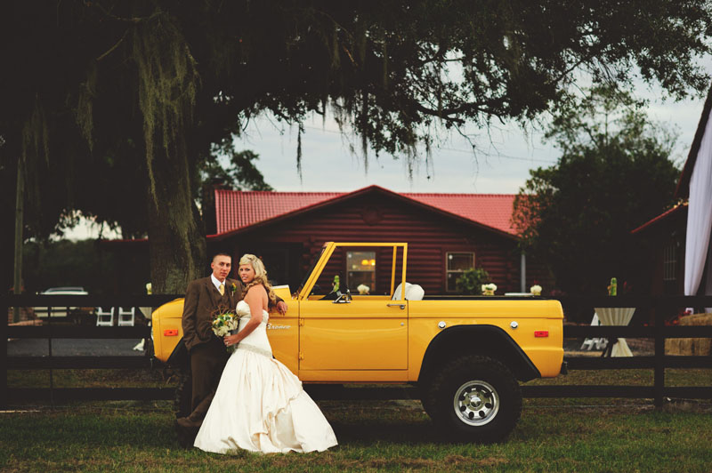 plant city farm wedding: get away car