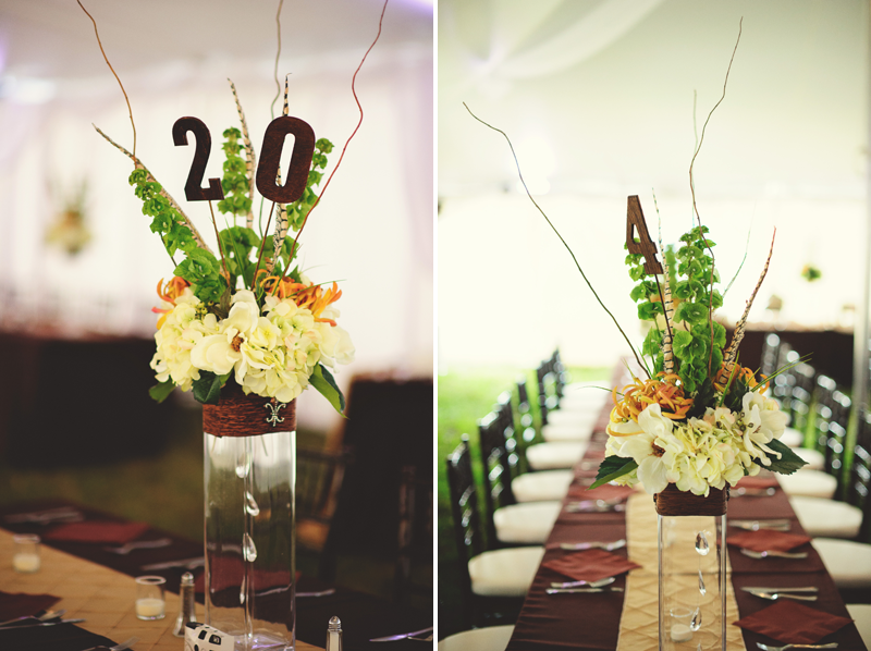 plant city farm wedding: center pieces