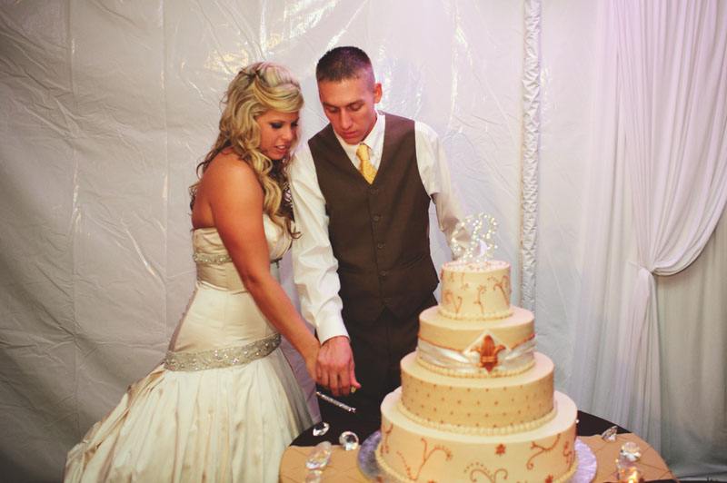 plant city farm wedding: cutting cake
