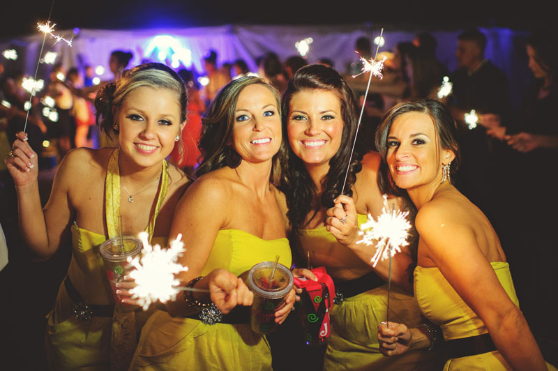 plant city farm wedding: bridesmaids sparklers