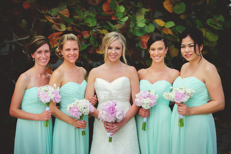 siesta key backyard wedding: bridesmaids