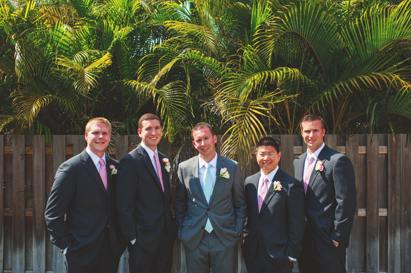 siesta key backyard wedding: groomsmen