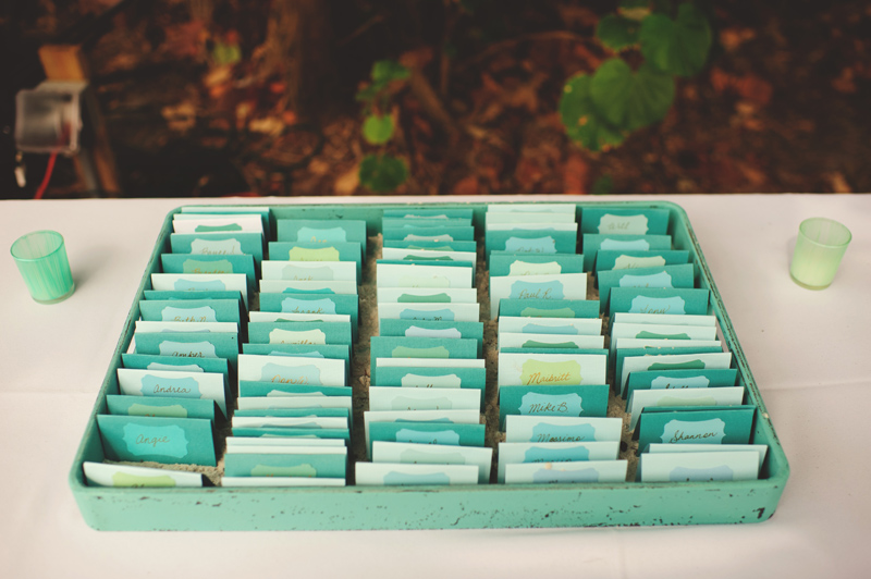 siesta key backyard wedding: escort cards