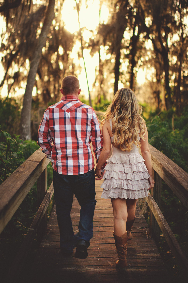 clermont fl engagement: walking down a dock