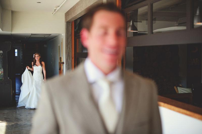 postcard inn holiday isles wedding: bride and groom first look