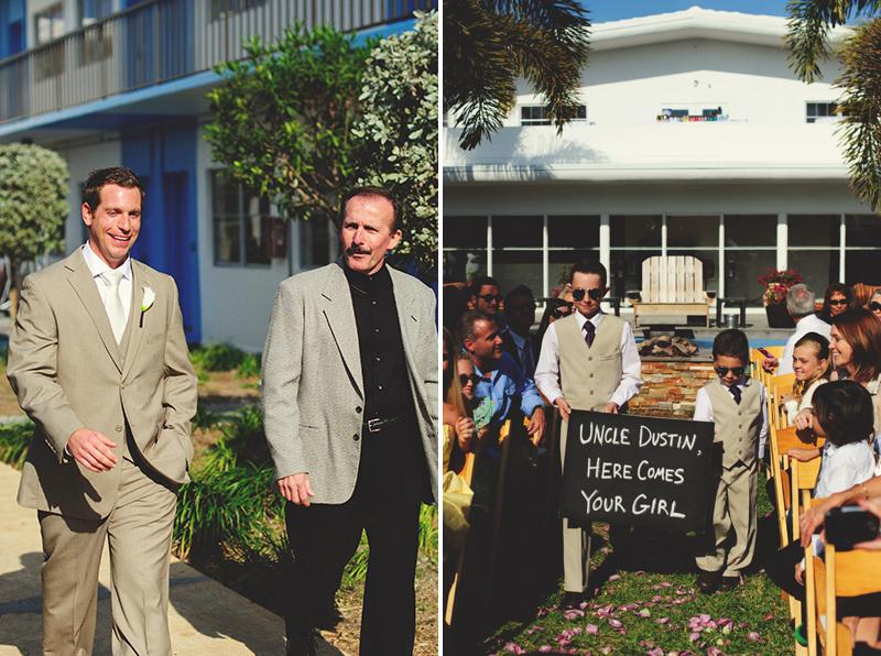 postcard inn holiday isles wedding: groom walking down isle