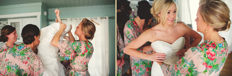siesta key backyard wedding: getting in dress