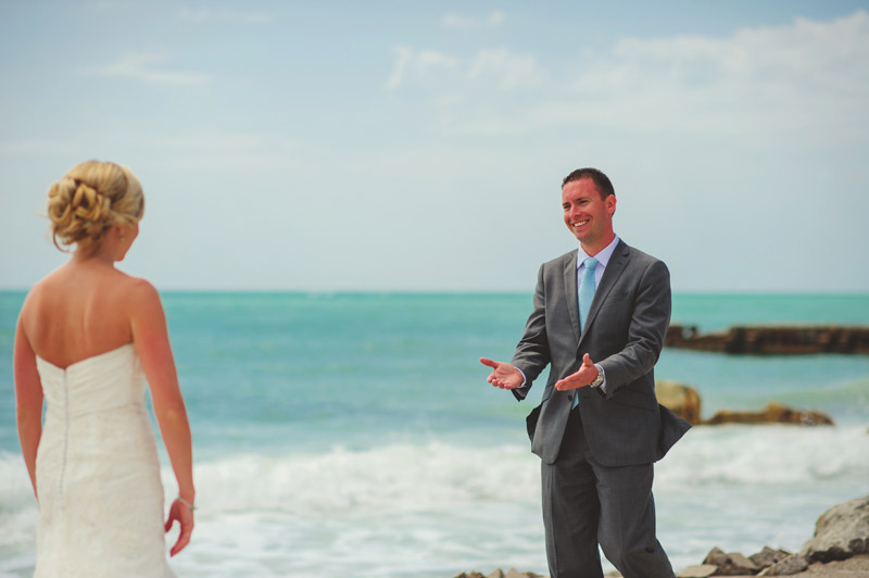 siesta key backyard wedding: happy groom