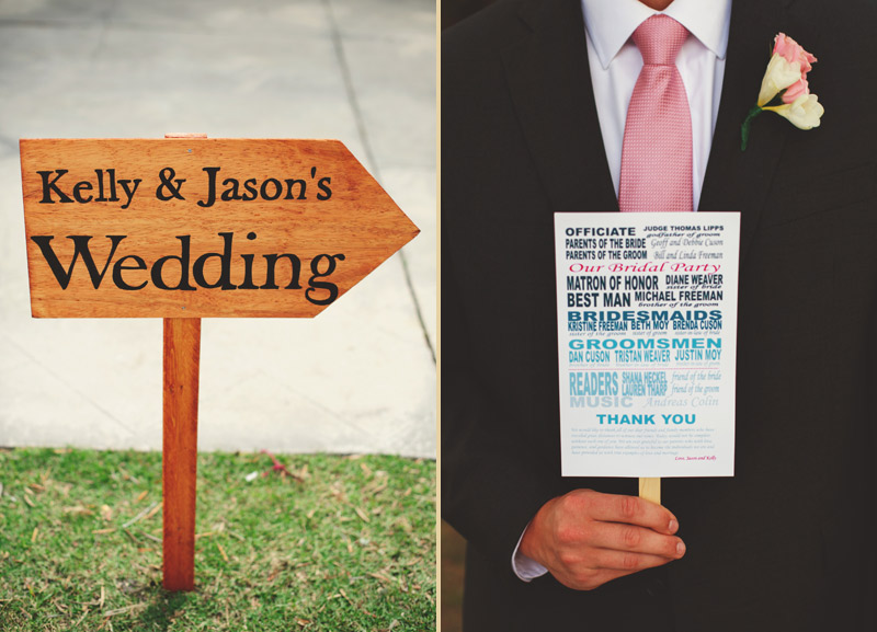 siesta key backyard wedding: sign and program
