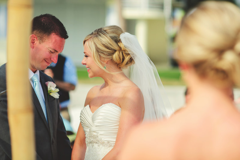 siesta key backyard wedding: smiling