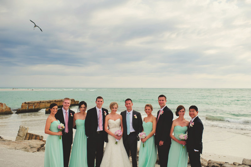 siesta key backyard wedding: bridal party