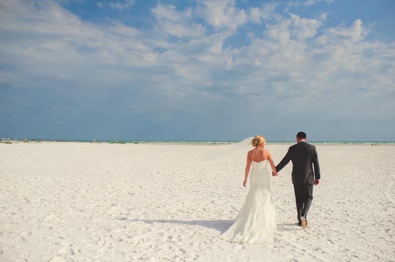 siesta key backyard wedding: bride and groom