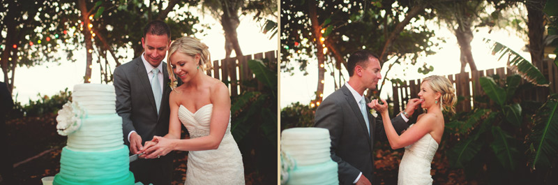 siesta key backyard wedding: cake cutting