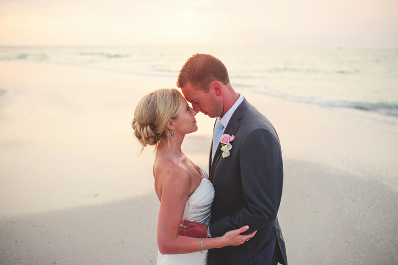 siesta key backyard wedding: bride and groom portraits
